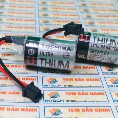 ER3V/3.6V PIN 3.6V 1200mAh 14.5*25.5mm, TOSHIBA LITHIUM BATTERY ER3V 3.6V Rắc Đen